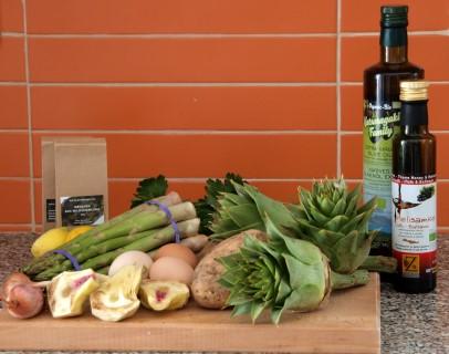Kartoffelsalat mit Artischocken und Spargel