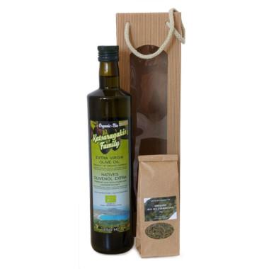 Geschenkset Bio-Olivenöl und Oregano